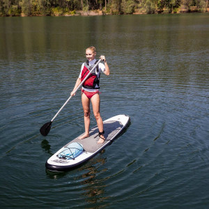 woman on bestway hydroforce paddle board