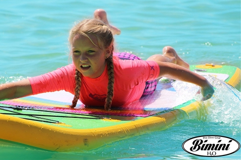 young girl paddling on bimini h2o sup