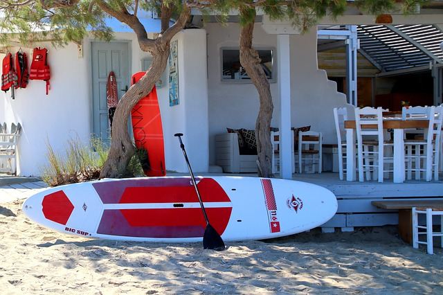 stand up paddling on solid board